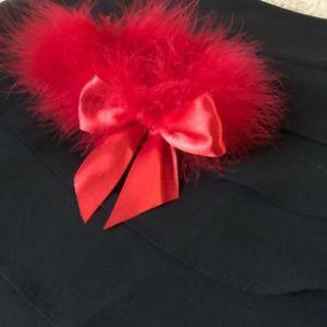 Garter belt wedding red feathers